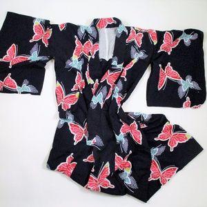 Vintage Butterfly Kimono Robe Navy Pink Purple EUC